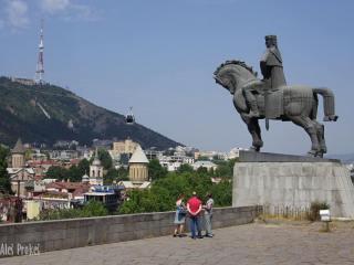 Tbilisi, socha krále Vachtanga Gorgasali.