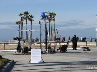 Natáčení na pláži ve čtvrti Venice